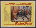 "Movie Posters:Adventure, The Adventures of Robin Hood (Warner Brothers, R-1948). Lobby Card(11"" X 14""). Adventure. Starring Errol Flynn, Olivia de H..."