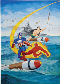 Alex Schomburg - Overstreet Comic Book Price Guide #21 Cover Featuring Captain America, The Human Torch, And The Sub-Mar...