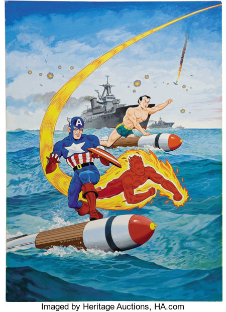 Alex Schomburg - Overstreet Comic Book Price Guide #21 Cover Featuring Captain America, The Human Torch, And The Sub-Mariner O...