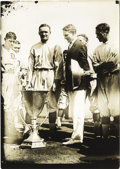 """Baseball Collectibles:Photos, 1913 Walter Johnson and Triple Crown Cup Service Photograph. Brilliant 5x7"""" service photo depicts the ceremonial presentati..."""