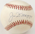 Autographs:Baseballs, Joe DiMaggio Single Signed Baseball. An unimprovable signature fromthe Yankee Clipper appears on the sweet spot of the prov...