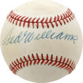 Autographs:Baseballs, Ted Williams Single Signed Baseball. The Splendid Splinter has leftthe OAL (MacPhail) baseball we see here with an impressi...
