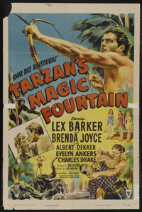"Tarzan's Magic Fountain (RKO, 1949). One Sheet (27"" X 41""). Adventure. Starring Lex Barker, Brenda Joyce, Albe..."