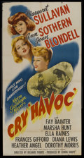 "Movie Posters:War, Cry Havoc (MGM, 1943). Three Sheet (41"" X 81""). War. StarringMargaret Sullavan, Ann Sothern, Joan Blondell, Fay Bainter, Ma..."