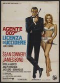 "Movie Posters:James Bond, Dr. No (United Artists, R-1972). Italian 2 - Folio (39"" X 55"").James Bond. Starring Sean Connery, Ursula Andress, Joseph Wi..."