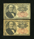 Fractional Currency:Fifth Issue, Fr. 1309 25c Fifth Issue Two Examples Good-Very Good.... (Total: 2)