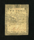 Colonial Notes:Continental Congress Issues, Continental Currency February 17, 1776 $2/3 Fine....