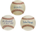 Autographs:Baseballs, Hall of Fame Trio Willie Stargell, Hoyt Wilhelm, and Al BarlickSingle Signed Baseballs . Here is an opportunity to own sin...