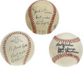 Autographs:Baseballs, Lou Boudreau, Bob Lemon, and Al Lopez Single Signed Baseballs. Wepresent to you a rare opportunity to have three single si...