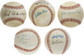 Autographs:Baseballs, Allen, Uecker, Ueberroth, MacPhail, and Honochick Single SignedBaseballs . A unique lot of five single signed baseballs of...