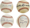 Autographs:Baseballs, Buck Leonard (2) Larry Doby, and Ray Dandridge Single SignedBaseballs. A rare opportunity to own single signed baseballs fr...