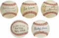Autographs:Baseballs, Gene Hermanski, Gene Mauch, Eddie Stanky, Mickey Owen, and PhilCavarretta Single Signed Baseballs . Gene signed this ONL ba...