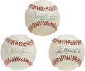 Autographs:Baseballs, Rollie Fingers and Catfish Hunter Single Signed Baseballs Lot of 3.This pair of Hall of Fame hurlers provide three singles...