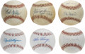 Autographs:Baseballs, Hall of Famers Single Signed Baseballs Lot of 6. Quintet ofCooperstown residents will appeal to collectors and dealers ali...