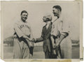 Baseball Collectibles:Photos, 1921 Babe Ruth, Bob Meusel & Kenesaw M. Landis Culver ServicePhotograph, Type 1. Wire service caption on verso reads, in pa...