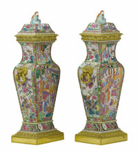 A Pair of Gilt Bronze Mounted 'Famille Rose' Porcelain Covered Urns  Unknown maker, China and France Late Qi