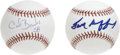 "Autographs:Baseballs, New York Football Giants Single Signed Baseballs Lot of 2. Thisunique pair of ""crossover"" mementos offers a pair of gridir..."