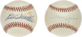 Autographs:Baseballs, Warren Spahn and Eddie Matthews Single Signed Baseballs. WarrenSpahn was one of the best pitchers ever. He was a 20-game w...