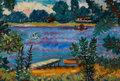 Fine Art - Painting, American:Modern  (1900 1949)  , EMIL ARMIN (American, 1883-1971). Wood Lake, 1924. Oil onboard. 10 x 14 inches (25.4 x 35.6 cm). Signed lower right: ...
