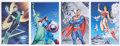 Memorabilia:Comic-Related, Mark Sparacio Signed Captain America, Green Lantern, Wonder Woman, and Superman Print Group of 4 (2008).... (Total: 4 Items)