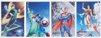 Mark Sparacio Signed Captain America, Green Lantern, Wonder Woman, and Superman Print Group of 4 (2008).... (Total: 4 It...