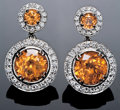 Gems:Jewelry, BRILLIANT ORANGE SPESSARTINE EARRINGS. ...
