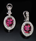 Gems:Jewelry, RUBELLITE & DIAMOND EARRINGS. ...