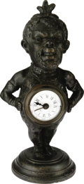 Antiques:Clocks & Watches, Blackman Figure with Clock, Circa 1910....