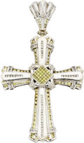 Estate Jewelry:Pendants and Lockets, White & Yellow Diamond, White Gold Pendant. ...