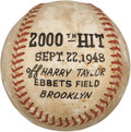 Baseball Collectibles:Balls, 1948 Dixie Walker 2,000 Hit Game Used Baseball from Dixie Walker. ...