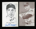 Autographs:Post Cards, Mickey Mantle Rare Exhibit And Joe DiMaggio Signed Postcards Lot Of2....