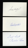 Autographs:Index Cards, Brooklyn Dodgers Legends Signed Index Cards Lot Of 3....