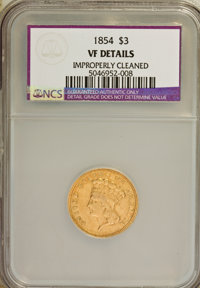 1854 $3 --Improperly Cleaned--VF20 NCS. VF Details. NGC Census: (2/3159). PCGS Population (4/2408). Mintage: 138,618. Nu...