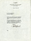 Golf Collectibles:Autographs, 1942 Bobby Jones Signed Typed Letter. ...
