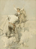 Paintings, HARVEY T. DUNN (American, 1884-1952). The Pony Express Rider and Road-Agent, 1908. Oil on canvas. 28 x 22 inches (71.1 x...