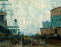 Fine Art - Painting, American:Modern  (1900 1949)  , ARTHUR CLIFTON GOODWIN (American, 1864-1929). Dock Scene,Boston. Oil on canvas. 29 x 36 inches (73.7 x 91.4 cm).Signed...