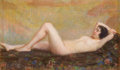 Fine Art - Painting, American:Modern  (1900 1949)  , LOUIS KRONBERG (American, 1872-1965). Reclining Figure,1926. Oil crayon on canvas. 13 x 21-1/2 inches (33.0 x 54.6 cm)...