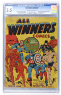 Golden Age (1938-1955):Superhero, All Winners Comics #1 (Timely, 1941) CGC VG- 3.5 Cream to off-white pages....