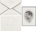"""Autographs:U.S. Presidents, Jacqueline Kennedy and John Jr.: JFK Funeral Mass Card, JFK Jr.Note """"Signed,"""" and Envelope Addressed by Jackie.... (Total: 3Items)"""