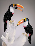 Lapidary Art:Carvings, TOUCAN COUPLE ON QUARTZ . ...