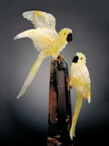 Lapidary Art:Carvings, YELLOW QUARTZ MACAWS ON POLISHED SMOKY QUARTZ POINT . ...