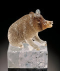 Lapidary Art:Carvings, SMOKY QUARTZ WILD BOAR ON POLISHED ROCK CRYSTAL . ...