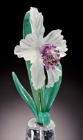 Lapidary Art:Carvings, ORCHID IN ROCK CRYSTAL VASE. ...