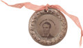 "Political:Ferrotypes / Photo Badges (pre-1896), Lincoln & Hamlin: 1860 ""Doughnut"" Style Ferrotype...."