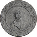 Political:Small Miscellaneous (pre-1896), Franklin Pierce: A Highly Desirable Pewter Shaving Mirror Dating from His Presidency. ...