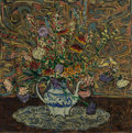 Fine Art - Painting, American:Modern  (1900 1949)  , ELMER LIVINGSTON MACRAE (American, 1875-1953). Bouquet ofFlowers in a Blue and White Teapot, 1915. Oil on canvas. 27 x...