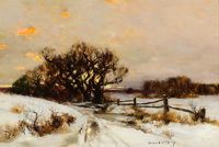 PROPERTY OF A PRIVATE TEXAS COLLECTOR  BRUCE CRANE (American, 1857-1937) Winter Surprise, Long Island