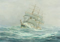 Paintings, Attributed to ANTON OTTO FISCHER (German/American, 1882-1962). Clipper Ship. Oil on canvas. 24 x 34-1/4 inches (61.0 x 8...
