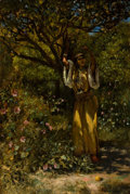 Edwin Lord Weeks (American, 1849-1903) In the Garden, 1876 Oil on canvas 27-1/2 x 18-7/8 inches (