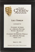 Movie/TV Memorabilia:Awards, Lily Tomlin's 1994 American Comedy Award Nomination....